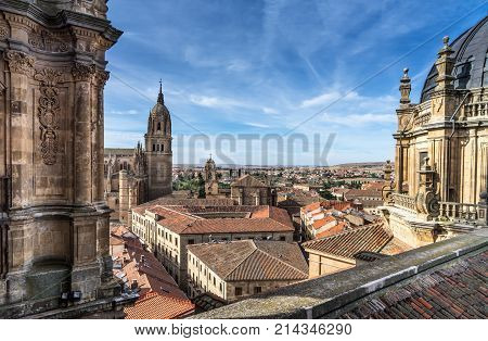 Over look New Cathedral Belltower of Salamanca and surroundings from La Clerecia in Salamanca Castilla y Leon Spain