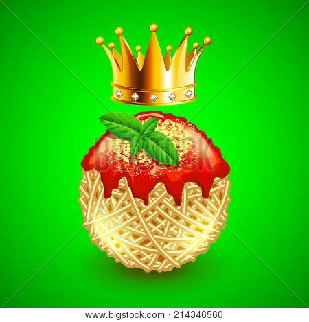 italian spaghetti clew and crown over it on green photo realistic vector background