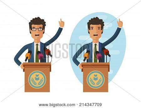 Public statement. Orator speak from tribune. Vector flat illustration isolated on white background