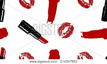 Professional Makeup Artist Background. Vector Seamless Pattern With Lipstick Smear And Brush, Makeup