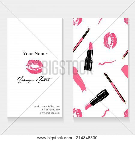 Makeup artist business card template. Cosmetics seamless pattern background: pink imprint of lips kissing, lipstick, lip liner and trace from pencil. Cosmetics banner set. Vector beauty illustration