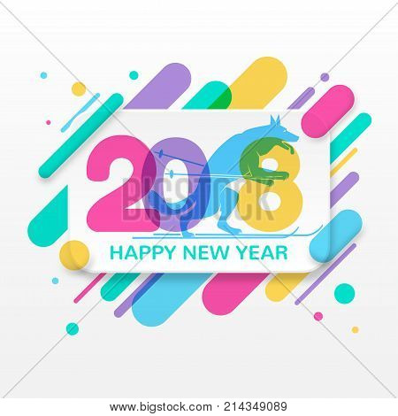 2018 Happy New Year greeting card with abstract colored rounded shapes lines in diagonal rhythm. For greeting card, poster, brochure or flyer template. Vector illustration. Year of the dog.