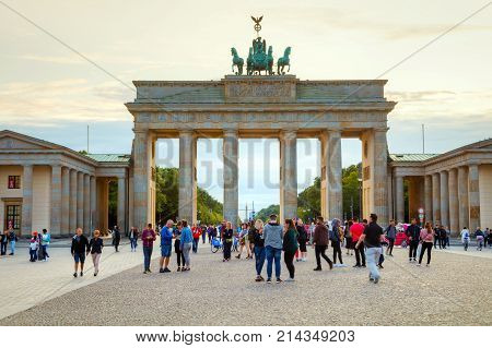 BERLIN - AUGUST 8: Brandenburg gate (Brandenburger Tor) on August 8 2017 in Berlin Germany. It's an 18th-century neoclassical triumphal arch in Berlin one of the best-known landmarks of Germany.