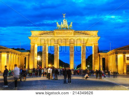 BERLIN - AUGUST 20: Brandenburg gate (Brandenburger Tor) on August 20 2017 in Berlin Germany. It's an 18th-century neoclassical triumphal arch in Berlin one of the best-known landmarks of Germany.
