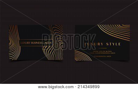 Black Gold Luxury business cards for VIP event. Elegant Greeting Card with Royal golden dots pattern. Banner or invitation with golden foil details. Branding and identity graphic design