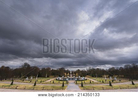 View on Sanssouci park on a nasty day