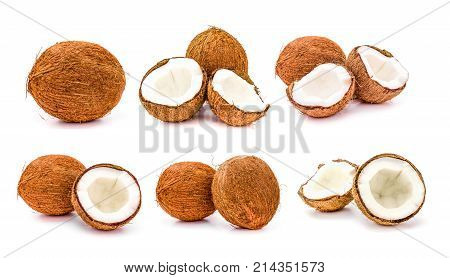 Set of whole and broken coconuts fruit isolated on white background. close up Collection of coco