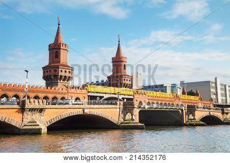 Oberbaum bridge in Berlin Germany on a sunny day