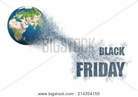 3d illustration of World disintegrate in a small parts and flying into words Black Friday. Commerce concept. Elements of this image furnished by NASA
