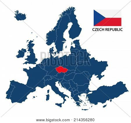 Vector illustration of a map of Europe with highlighted Czech Republic and Czech flag isolated on a white background