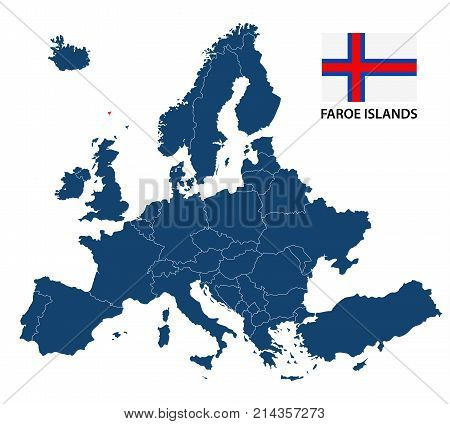 Vector illustration of a map of Europe with highlighted Faroe Islands and Faroe Islands flag isolated on a white background