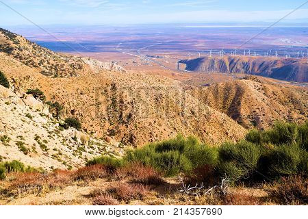 Barren and desolate mountains overlooking the Mojave Desert taken in the rural Southern Sierra Nevada Mountains, CA