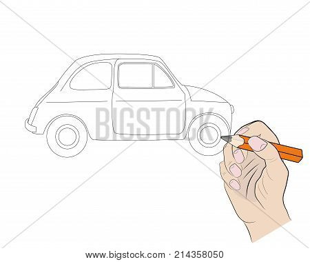 drawing of a car painted with a pencil. vector illustration.