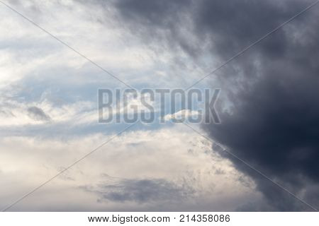 clouds after a thunderstorm . In the park in nature