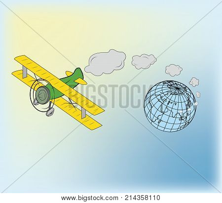 plane, flies away from the Earth. concept of travel day, vector art and illustration.