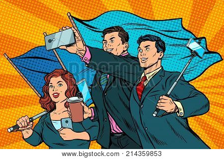 businessmen with smartphones and flags, poster socialist realism. Pop art retro vector illustration