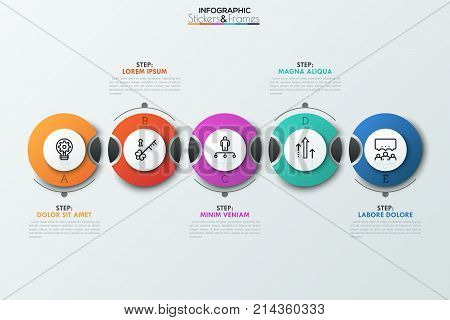 Five separate dissected circular elements with thin line icons inside and staggered text boxes. Successive steps to business success concept. Vector illustration for brochure, presentation, website.