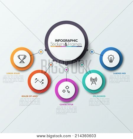 Five colorful circles connected with central round element. 5 features or options of business process concept. Realistic infographic design template. Vector illustration for presentation, report.