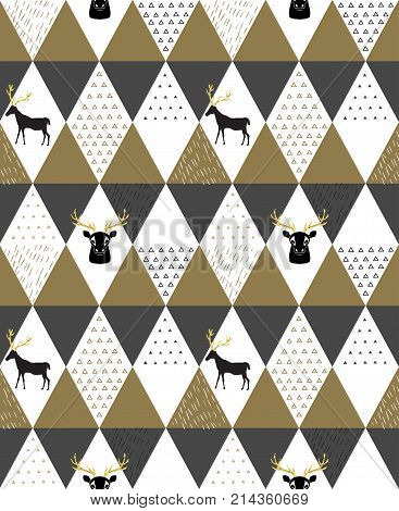 Reindeer geometric trendy seamless pattern with animal silhouette, winter holidays scandinavian minimal pattern, invitation vector background