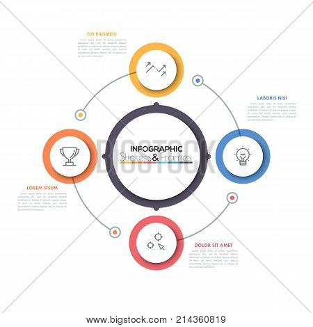 Four multicolored circles with thin line pictograms inside placed around main circular element in center. Production cycle business concept. Minimal infographic design template. Vector illustration.