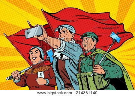 Chinese workers with smartphones selfie, poster socialist realism. Pop art retro vector illustration