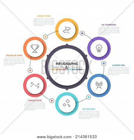 Six multicolored round elements with thin line icons inside placed around central circle. Cyclical diagram with 6 options concept. Modern infographic design layout. Vector illustration for brochure.