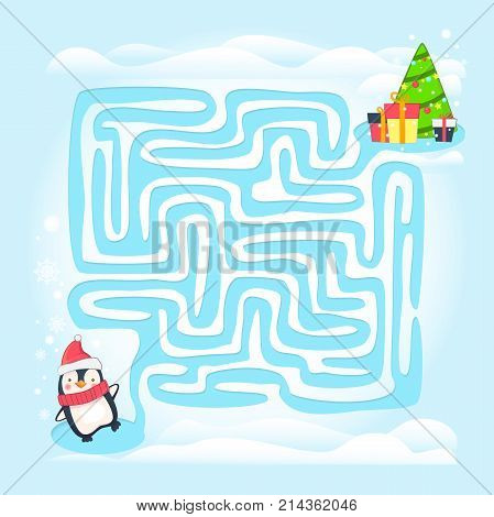 Maze game illustration. Labyrinth with Christmas theme game for kids