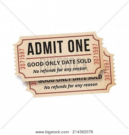Two vintage tickets to the cinema on a white background. Vector illustration. High detail vintage grunge tickets or coupons.