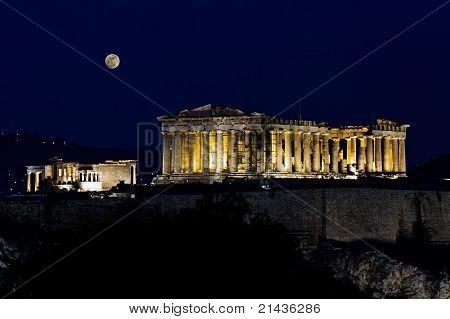 Acropolis (parthenon) By Night, Under Full Moon,  Athens, Greece