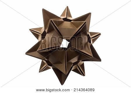 Stellated spiky origami model isolated on white. Beautiful and intricate geometry of modular paper folding.