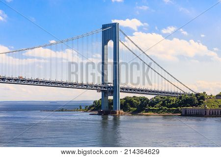The Verrazano-Narrows Bridge spanning Staten Island and Brooklyn New York