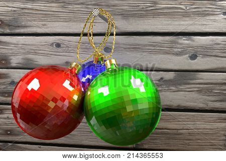 three colorful christmas baubles hanging on nail against the old planks 3d rendering