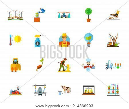 Agriculture icon set. Can be used for topics like gardening, farming, agronomy, crop growing