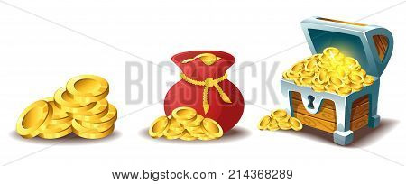 Vector cartoon style illustration of golden coins, bag of gold and treasure chest. Isolated on white background. Game user interface (GUI) element for video games, computer. In-game currency.