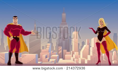 Male and female superheroes presenting something with cityscape as background.