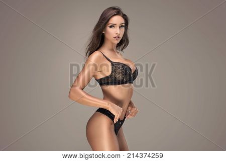 Sensual Brunette Lady In Lingerie.