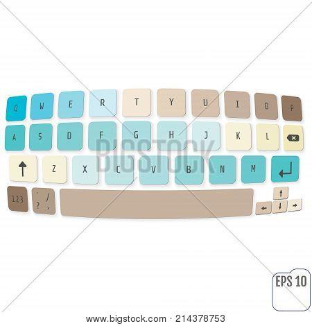 Compact Virtual Keyboard Vector Illustration. Vector Modern Keyb
