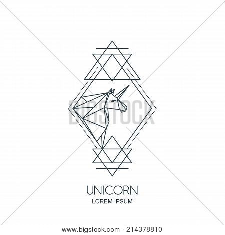 Vector Unicorn Logo Icon Or Emblem. Unicorn Polygonal Head In Rhombus Shape.