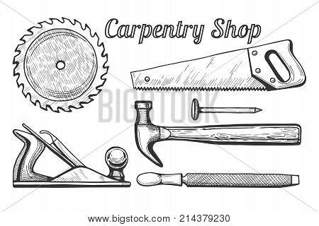 Vector illustration of woodworking or carpentry equipment tools icons. Instruments: circular or miter saw blade plane hammer and nail hand saw file. Hand drawn engraving style.