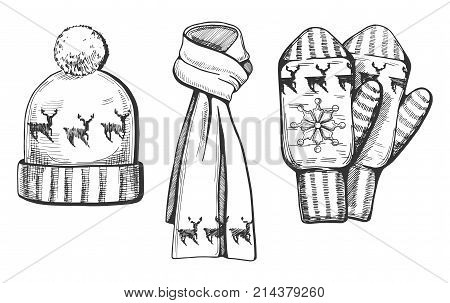 Vector illustration of a winter knitted items set: hat scarf and mittens with deer print/ornament. Hand drawn engraving style.
