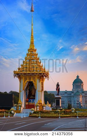 Bangkok, Thailand - October 29 2017: The Replica Of Royal Crematorium Of His Majesty Late King Bhumi