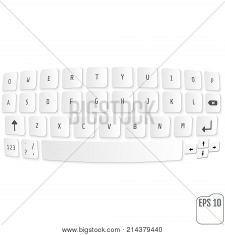 Vector Modern Keyboard Of Smartphone, Alphabet Buttons. Vector M