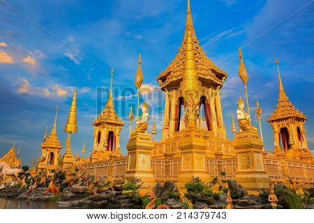 Bangkok, Thailand - November 15 2017: The Royal Crematorium Of His Majesty Late King Bhumibol Adulya