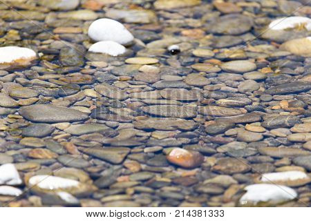 Stones in water Nature . Photo of an abstract texture