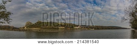 View from Austria for Devin castle in Slovakia in autumn day