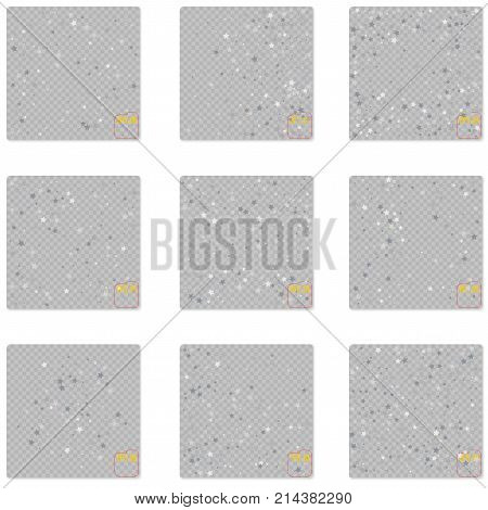 Star Falling Print. White Silver Starry Background. Vector Confe