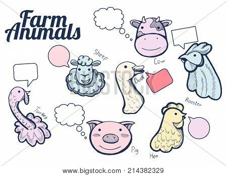 Vector illustration of a funny hand drawn farm animals portrait icons with labels and bubbles to speak: cow sheep hen rooster duck pig and turkey. Hand drawn style with color underlay.
