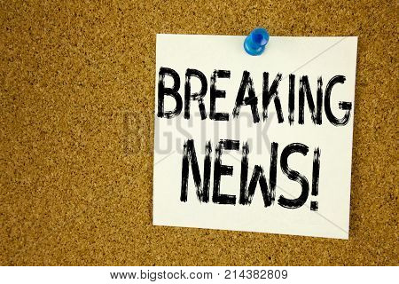 Conceptual Hand Writing Text Caption Inspiration Showing Breaking News. Business Concept For Newspap