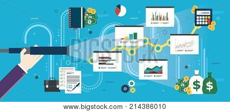 Hand with lunette analyzing investment charts and business icons. Business prediction and vision concept financial investment growth success and earning money. Flat design vector illustration.