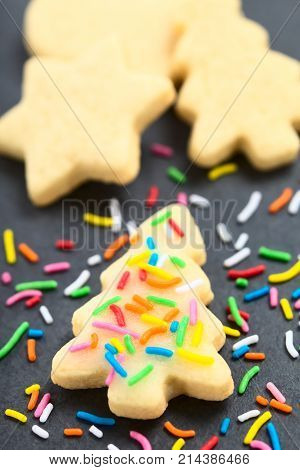 Homemade baked sugar cookie for Christmas with icing and colorful sprinkles on the top (Selective Focus Focus one third into the image)